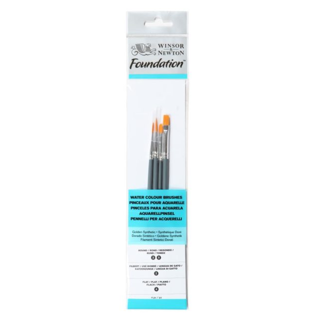 Image of Winsor & Newton Foundation Watercolour Brush - Short Handle - 4 Pack
