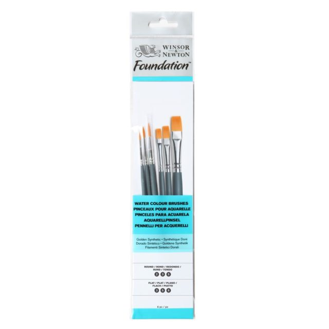 Image of Winsor & Newton Foundation Watercolour Brush - Short Handle - 6 Pack