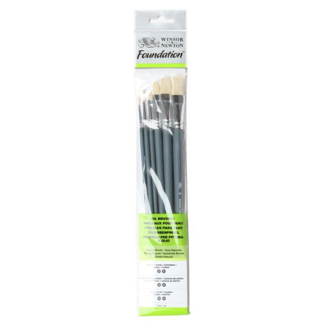Image of Winsor & Newton Foundation Oil Brush - Long Handle -6 Pack