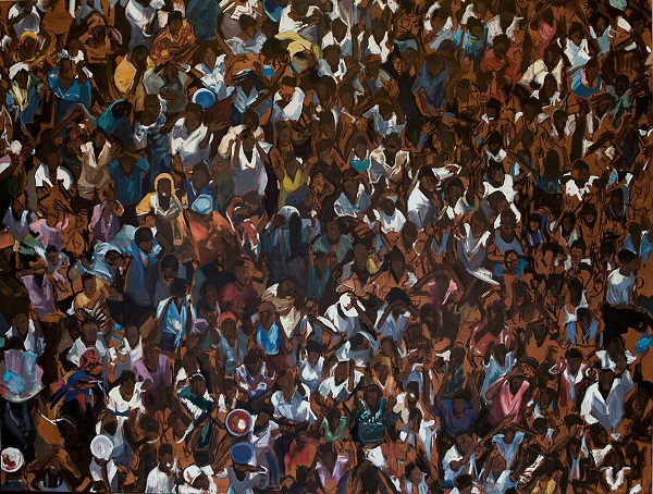 Robert Rost: Crowd, oil on canvas
