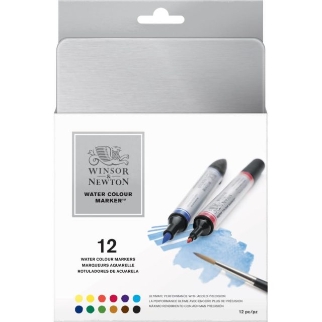 Image of Promarker Watercolour Set - Winsor & Newton Water Colour Markers 12 Set box, Set