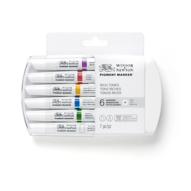 Image of Pigment Marker Set - Winsor & Newton Pigment Marker 6 Set Rich Tones, Set