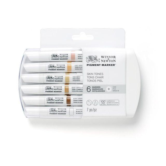 Image of Pigment Marker Set - Winsor & Newton Pigment Marker 6 Set Skin Tones, Set