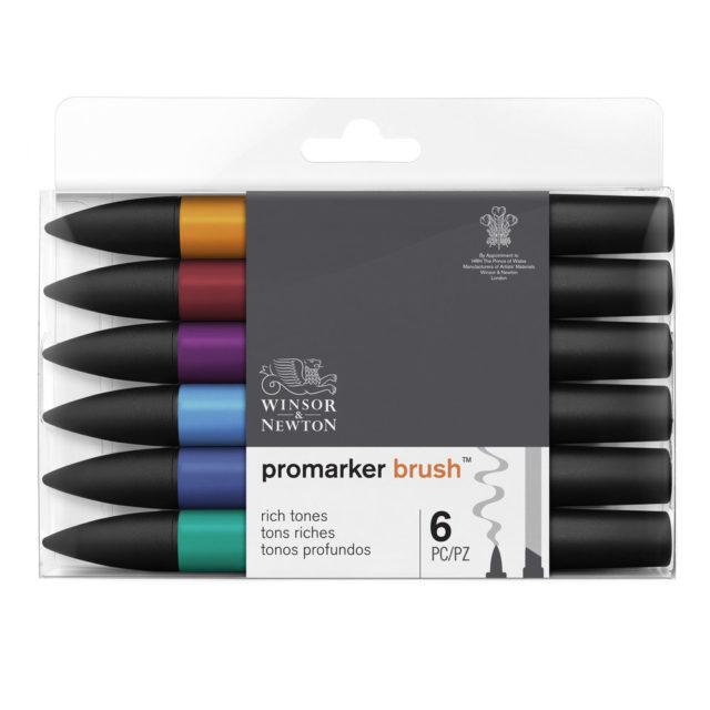 Image of Promarker Brush Set - Winsor & Newton Promarker Brush 6 Rich Tones, Set
