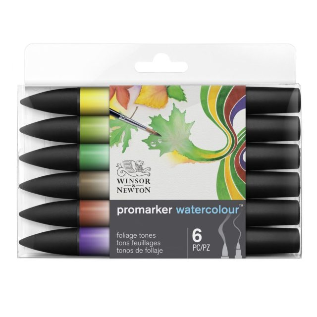 Image of Promarker Watercolour Set - Winsor & Newton Promarker Watercolour 6 Foliage Tones, Set