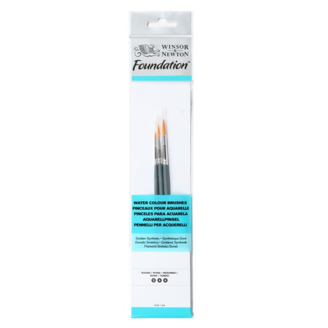 Image of Winsor & Newton Foundation Watercolour Brush - Short Handle - 3 Pack