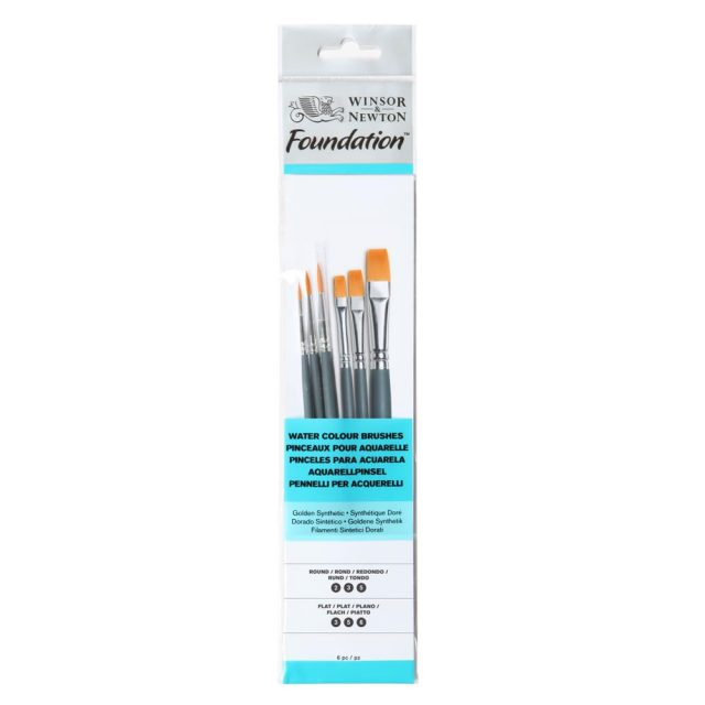 Image of Winsor & Newton Foundation Watercolour Brush - Short Handle - 6 Pack