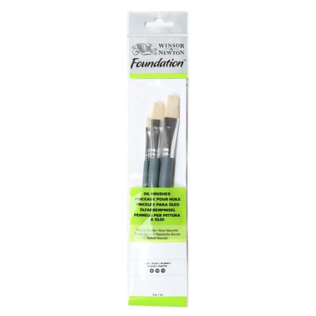Image of Winsor & Newton Foundation Oil Brush - Short Handle -3 Pack