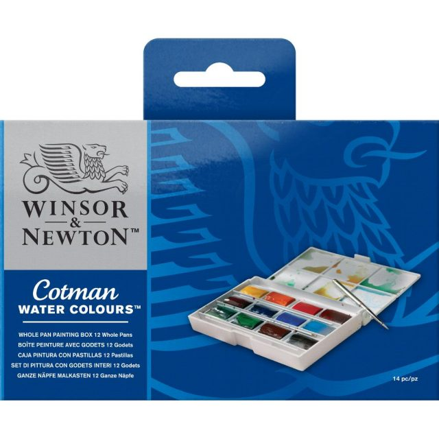 Image of Winsor & Newton Cotman Watercolours Whole Pan Painting Box - 12 Whole Pans