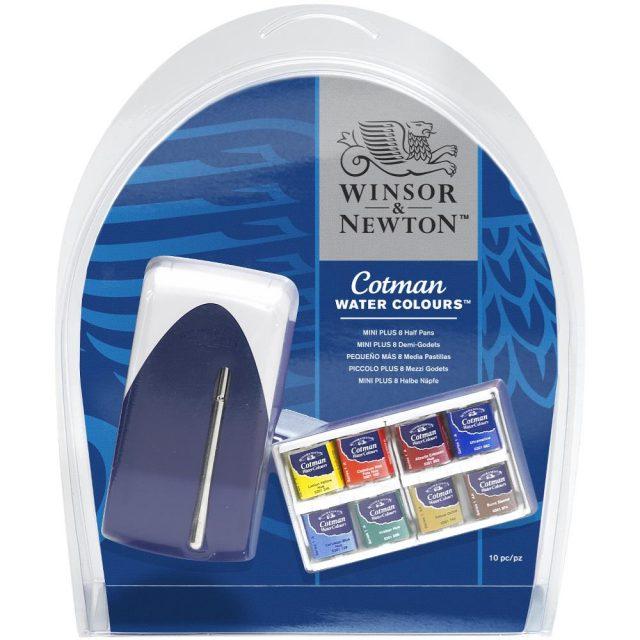 Image of Winsor & Newton Cotman Watercolours Mini Plus - 8 Half Pans