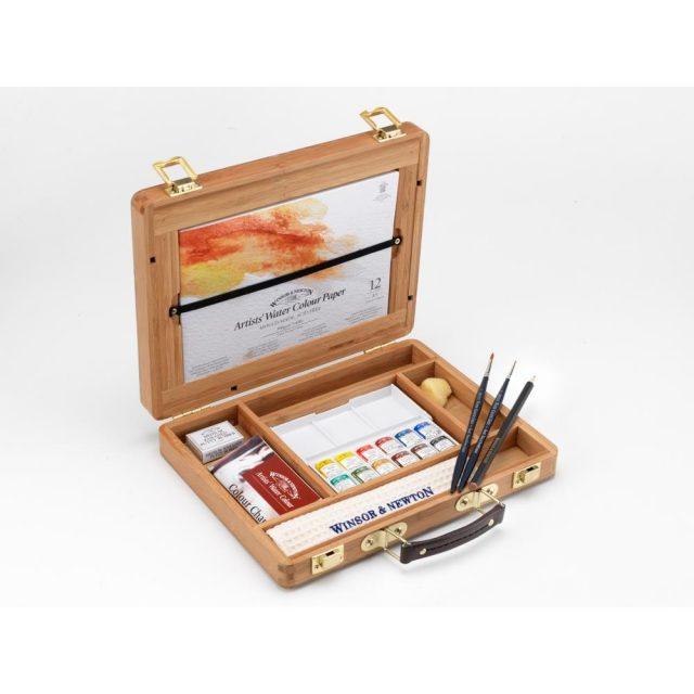 Image of Winsor & Newton Professional Watercolour Bamboo Box - Half Pan