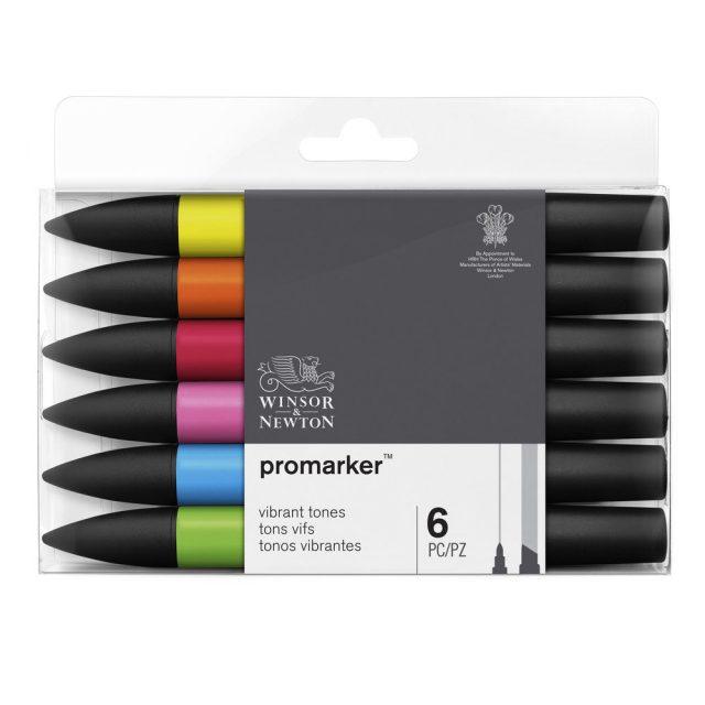 Image of Promarker Set - Winsor & Newton Promarker 6 Vibrant Tones, Set