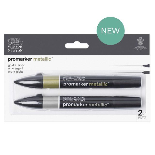 Image of Promarker Metallic Set - Winsor & Newton Promarker Metallic Gold + Silver, Set