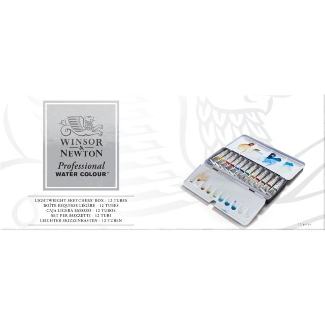 Image of Winsor & Newton Professional Watercolour Lightweight Sketchers' Box - 12 Tubes