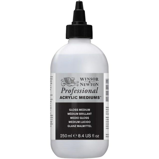 Image of Professional Acrylic Mediums - Winsor & Newton Acrylic Colour Professional Medium, Professional Acrylic Gloss Medium, 250ml