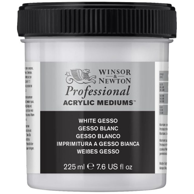 Image of Professional Acrylic Primers - Winsor & Newton Acrylic Colour Professional Primer, Professional White Gesso Primer, 225ml