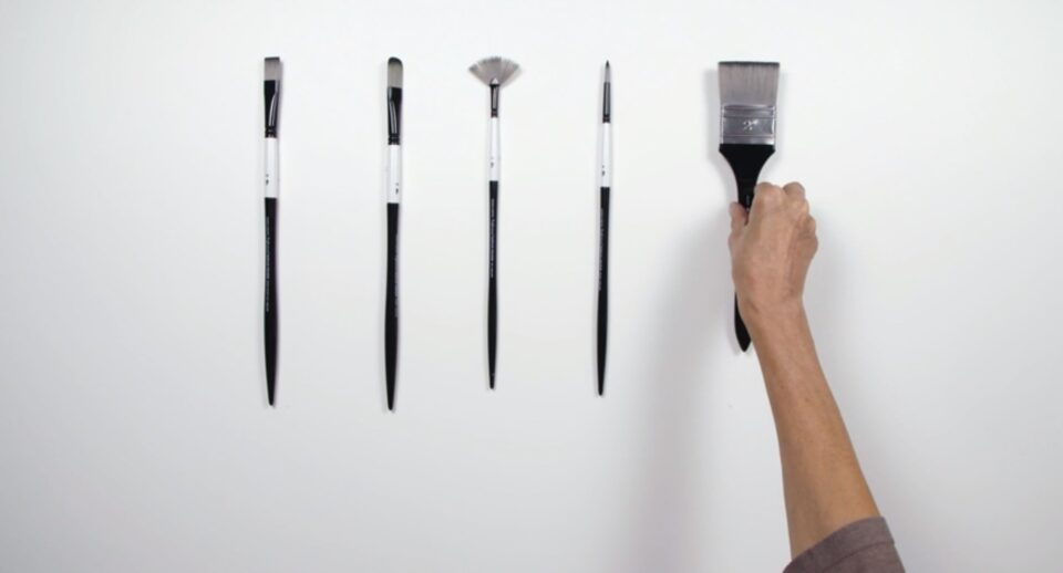 A range of Acrylic brushes for painting