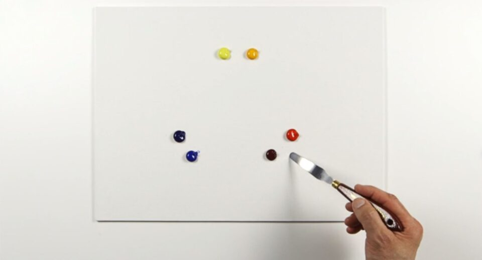 Demonstration of Mixing single pigment colors