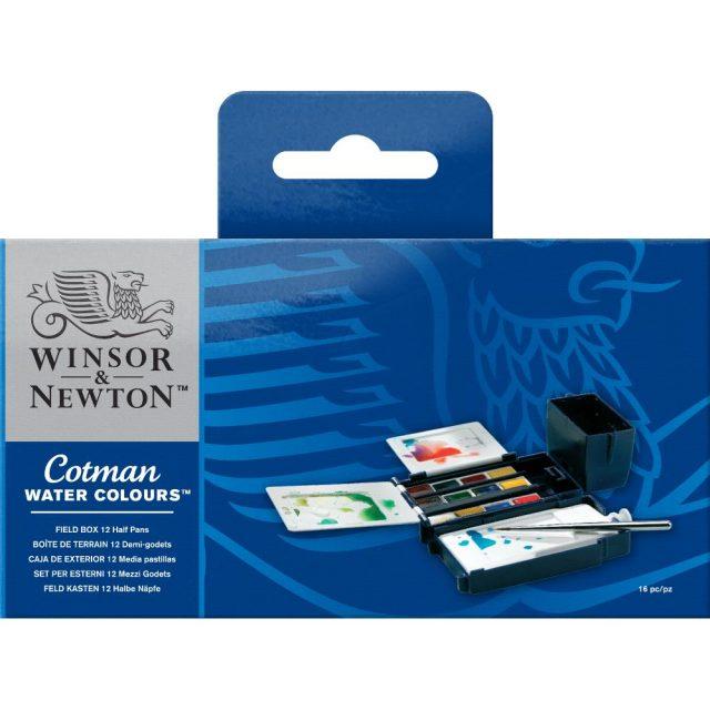 Image of Winsor & Newton Cotman Watercolours Field Box - 12 Half Pans