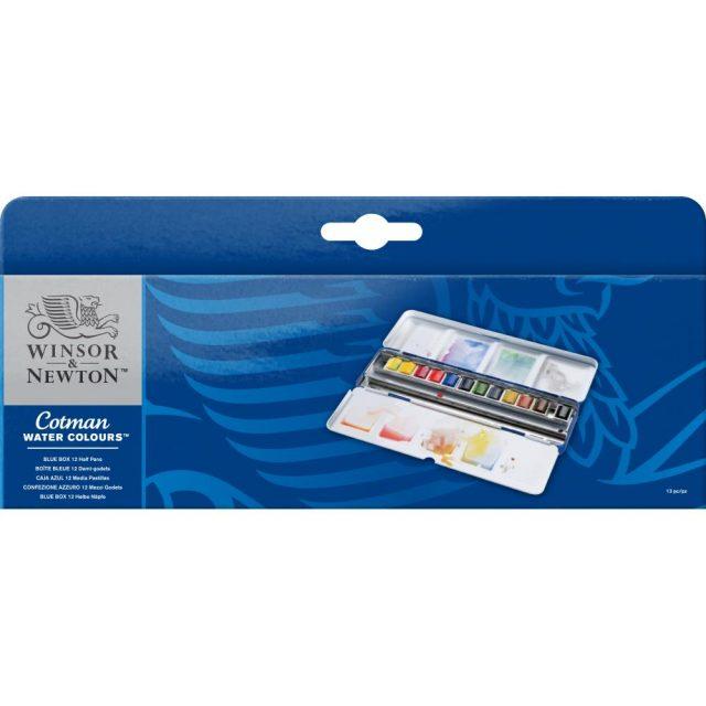 Image of Winsor & Newton Cotman Watercolours Blue Box - 12 Half Pans