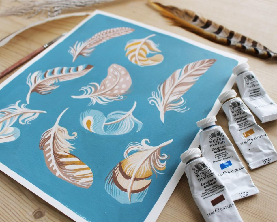 'Floating Feathers', gouache on paper, 2021.