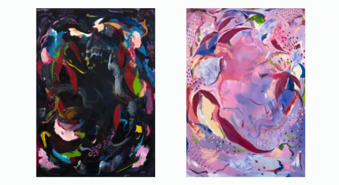 Left: 'Glistening', Acrylic, Ink, Swarovski crystals and Oil on Canvas  Right: 'Cloud 9', Acrylic, Ink, Swarovski crystals and Oil on Canvas