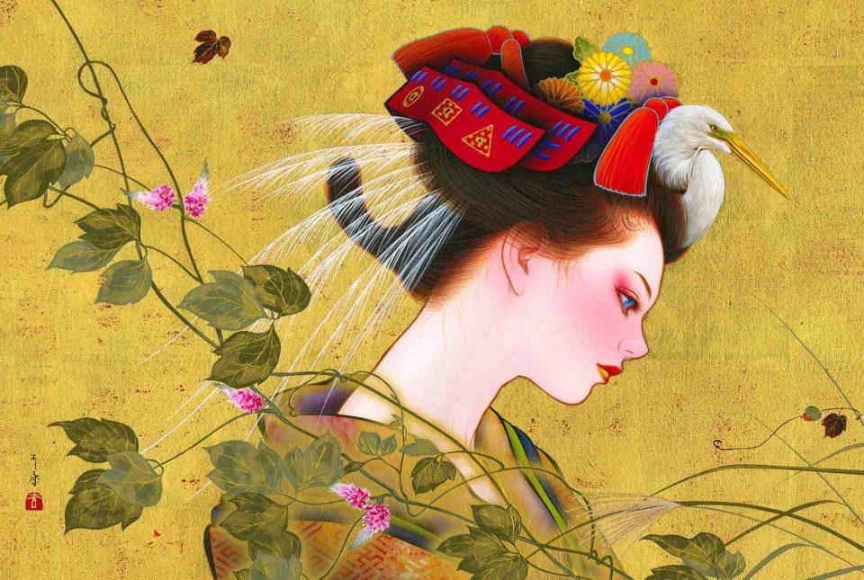 'Mitate-himeyama Autumn', acrylic and gold leaf on canvas, 2021