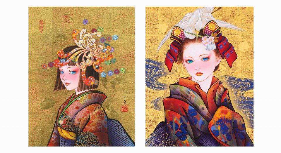 'Kukuri-hime', acrylic and gold leaf on canvas, 2020 / 'Mitate-himeyama Spring', acrylic and gold leaf on canvas, 2021