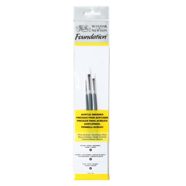 Image of Winsor & Newton Foundation Acrylic Brush - Short Handle - 3 Pack