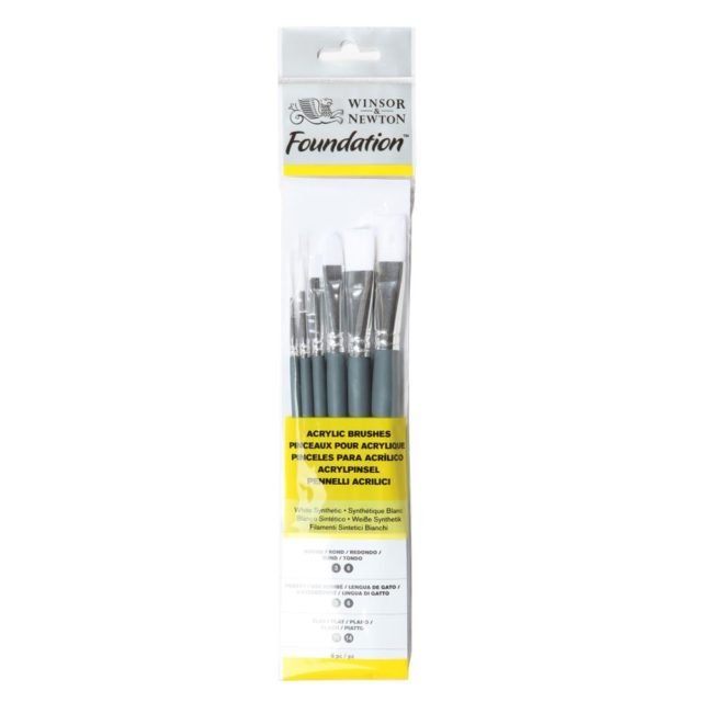 Image of Winsor & Newton Foundation Acrylic Brush - Short Handle - 6 Pack