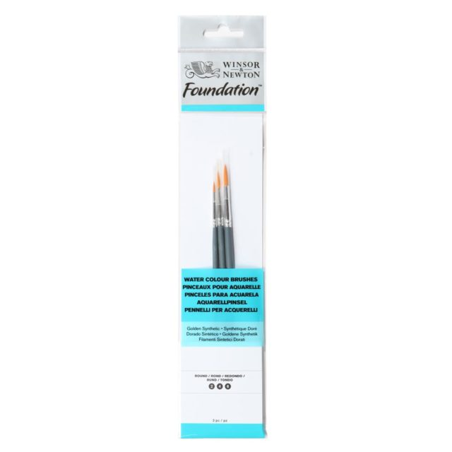 Image of Winsor & Newton Foundation Watercolour Brush - Short Handle - 3 Pack
