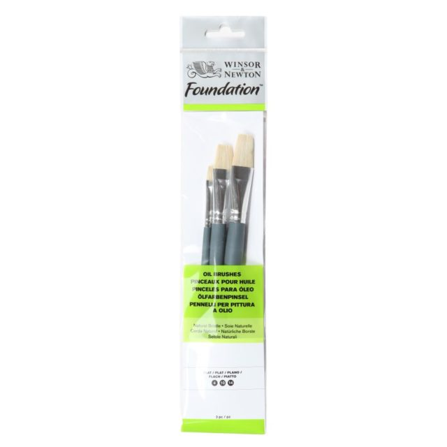 Image of Winsor & Newton Foundation Oil Brush - Short Handle -3 Pack