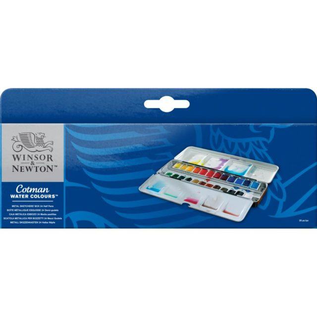 Image of Winsor & Newton Cotman Watercolours Metal Sketchers' Box - 24 Half Pans