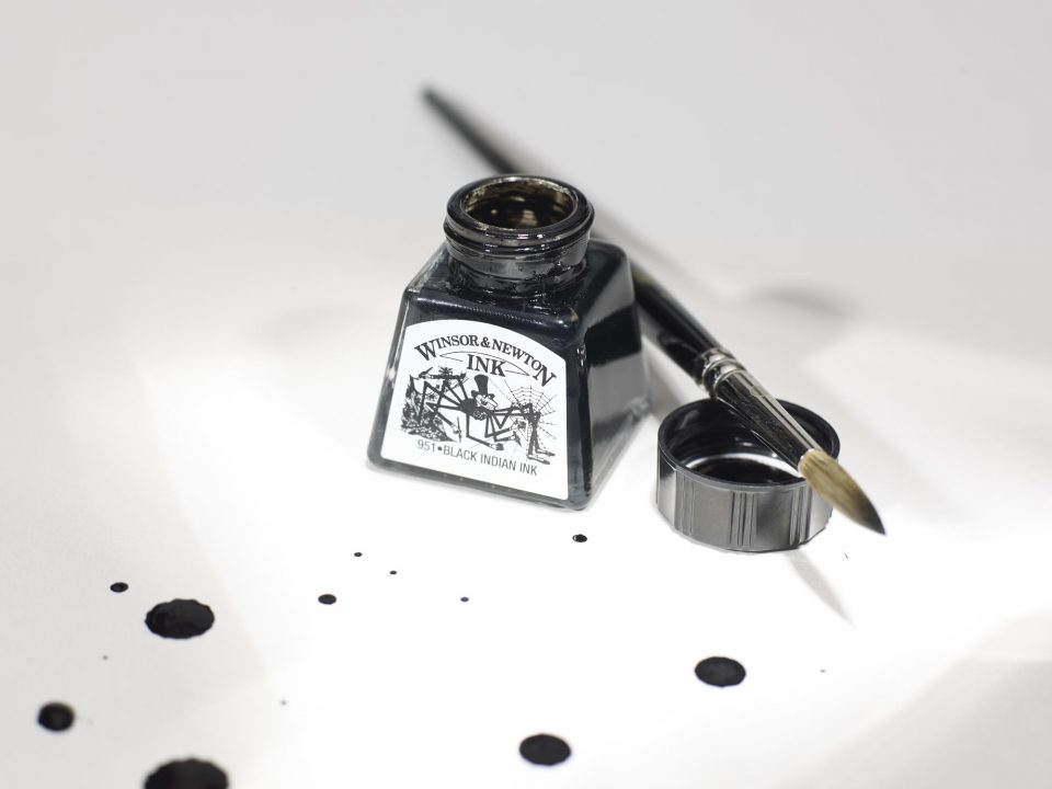W&N INKS BLACK INDIAN INK AND BRUSH