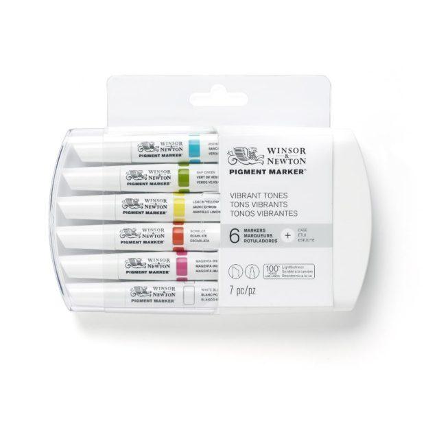 Image of Pigment Marker Set - Winsor & Newton Pigment Marker 6 Set Vibrant, Set