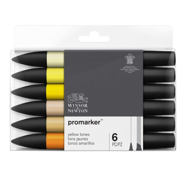 Image of Promarker Set - Winsor & Newton Promarker 6 Yellow tones, Set