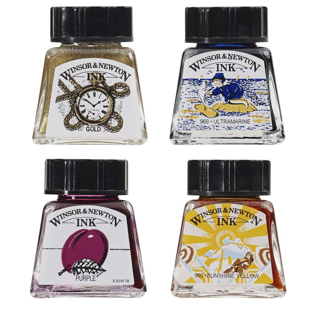 Winsor & Newton award winning Ink bottle label design