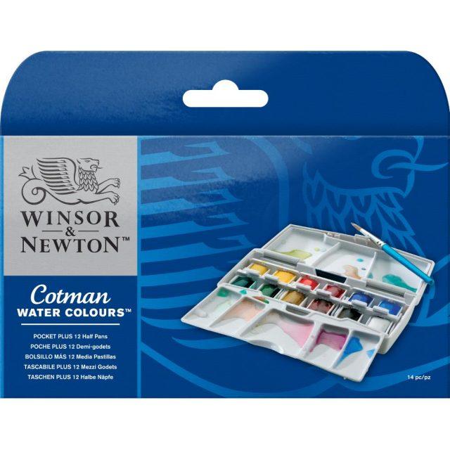 Image of Winsor & Newton Cotman Watercolours Pocket Plus - 12 Half Pans