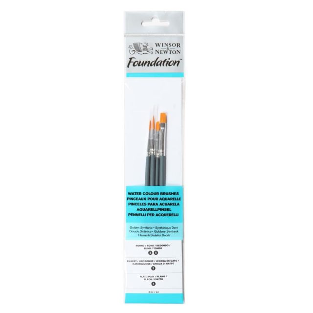 Image of Winsor & Newton Foundation Watercolour Brush - Short Handle - 4 Pack