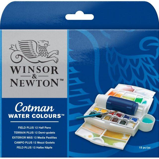Image of Winsor & Newton Cotman Watercolours Field Plus - 12 Half Pans