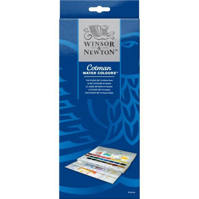 Image of Winsor & Newton Cotman Watercolours The Cotman Studio Set - 24 Whole Pans