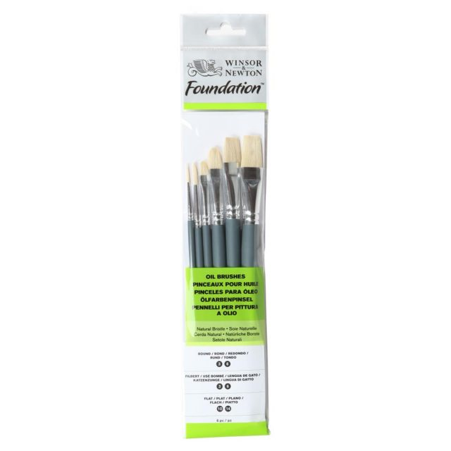 Image of Winsor & Newton Foundation Oil Brush - Short Handle -6 Pack