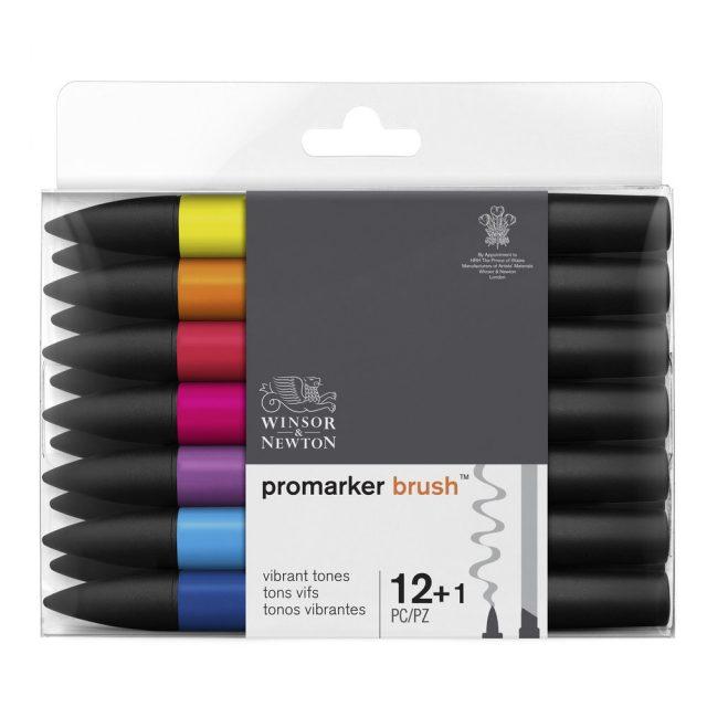 Image of Promarker Brush Set - Winsor & Newton Promarker Brush 12+1 Vibrant Tones, Set