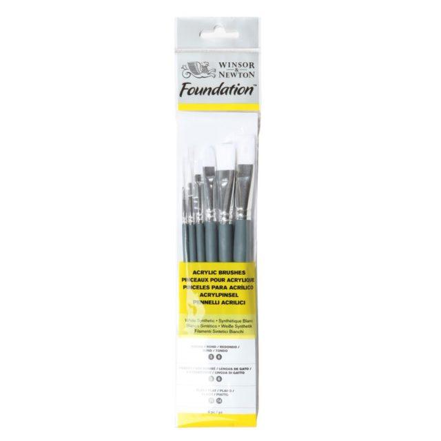 Image of Winsor & Newton Foundation Acrylic Brush - Short Handle - 6 Pack