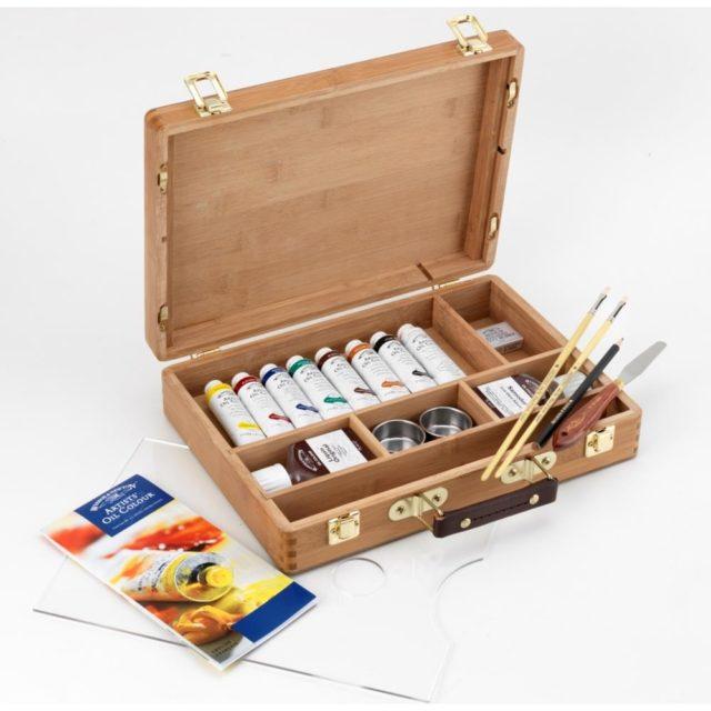 Image of Winsor & Newton Artists' Oil Colour Bamboo Box - Tube Set