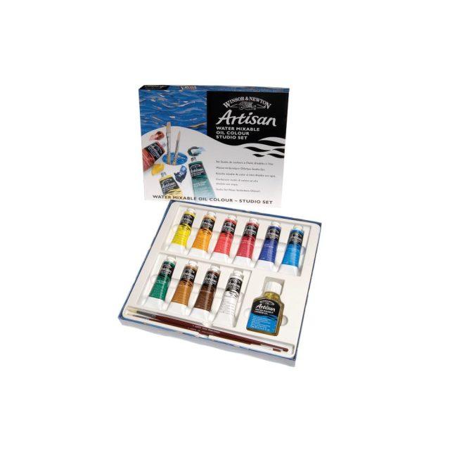 Image of Winsor & Newton Artisan Water Mixable Oil Colour Studio Set - 10x37ml Tubes