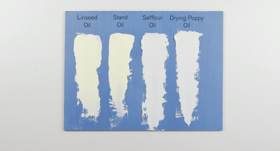 Image of effects of oil mediums on white paint