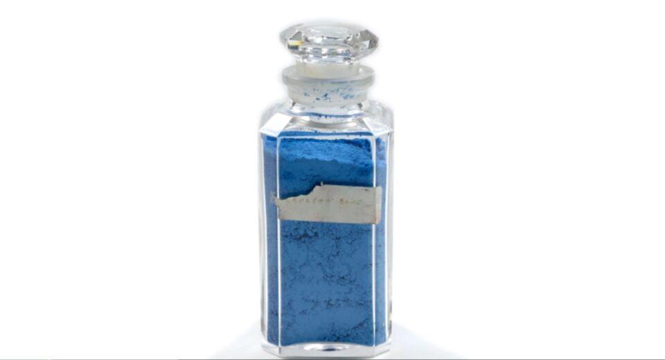 A bottle of Cerulean Blue pigment