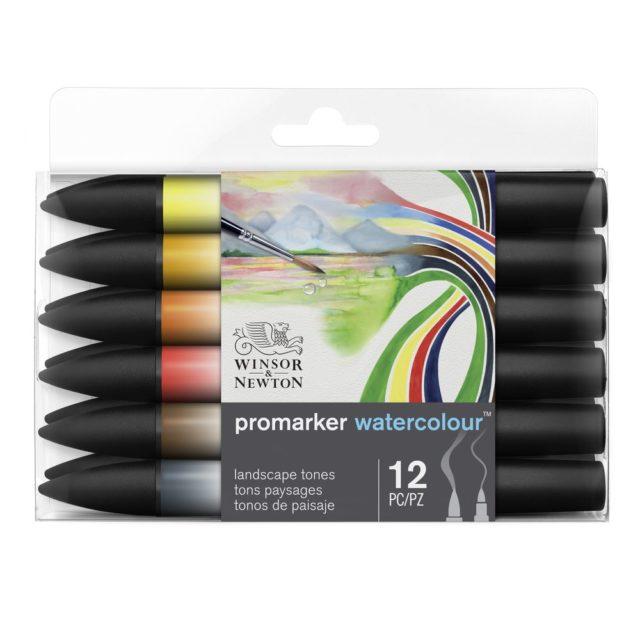 Image of Promarker Watercolour Set - Winsor & Newton Promarker Watercolour 12 Landscape Tones, Set