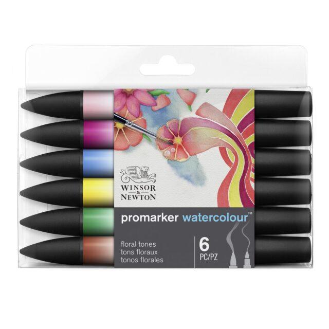 Image of Promarker Watercolour Set - Winsor & Newton Promarker Watercolour 6 Floral Tones, Set